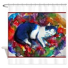 Cat! Colorful, pet, art! Shower Curtain