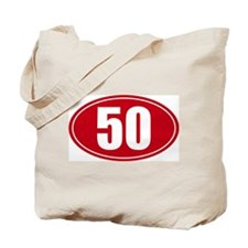 50 miles red oval sticker decal Tote Bag