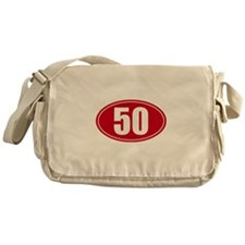 50 miles red oval sticker decal Messenger Bag