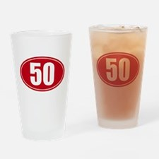 50 miles red oval sticker decal Drinking Glass
