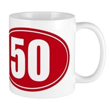 50 miles red oval sticker decal Mug
