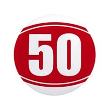 """50 miles red oval sticker decal 3.5"""" Button"""