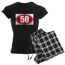50 miles red oval sticker decal pajamas