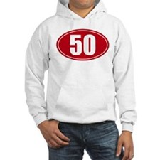 50 miles red oval sticker decal Hoodie