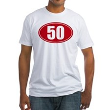 50 miles red oval sticker decal Shirt