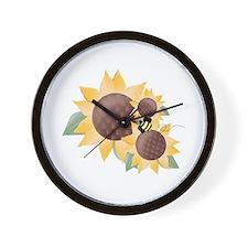 Sunflowers & Bee Wall Clock