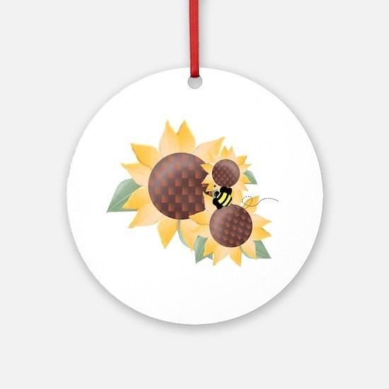 Sunflowers & Bee Ornament (Round)