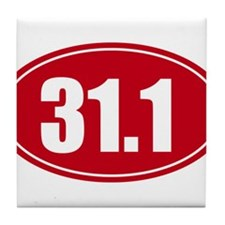 31.1 50k oval red decal sticker Tile Coaster