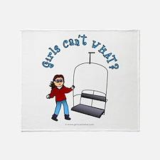 Ski Lift Girl Throw Blanket