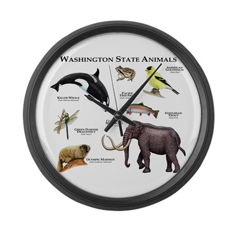 Washington State Animals Large Wall Clock