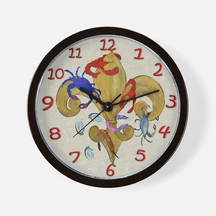 Cajun Fleur de lis Wall Clock