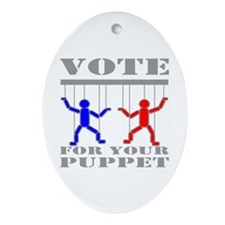 Vote For Your Puppet Ornament (Oval)