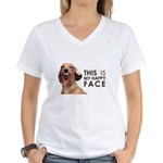 Happy Face Dachshund Women's V-Neck T-Shirt