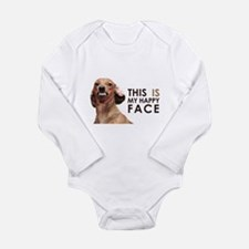 Happy Face Dachshund Long Sleeve Infant Bodysuit