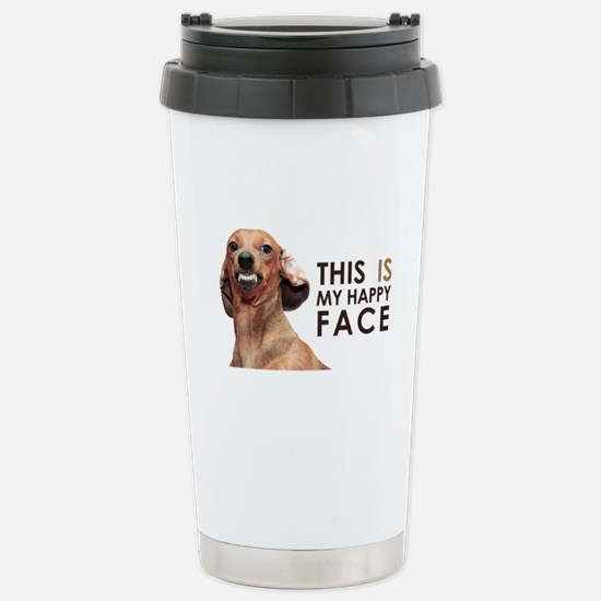 Happy Face Dachshund Stainless Steel Travel Mug