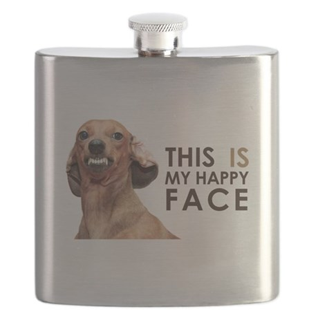 Happy Face Dachshund Flask