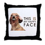 Happy Face Dachshund Throw Pillow