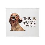 Happy Face Dachshund Throw Blanket