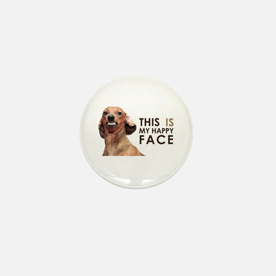 Happy Face Dachshund Mini Button
