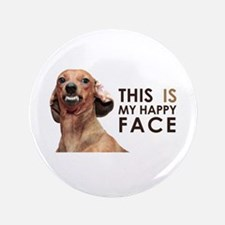 "Happy Face Dachshund 3.5"" Button"