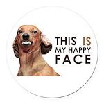 Happy Face Dachshund Round Car Magnet