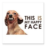 Happy Face Dachshund Square Car Magnet 3