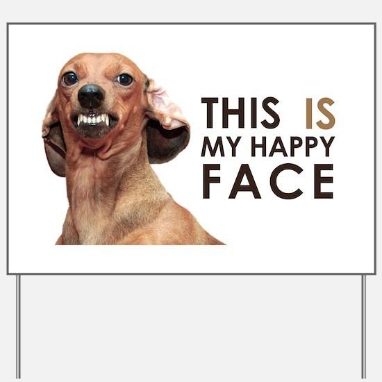 Happy Face Dachshund Yard Sign
