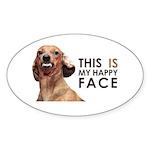 Happy Face Dachshund Sticker (Oval 50 pk)