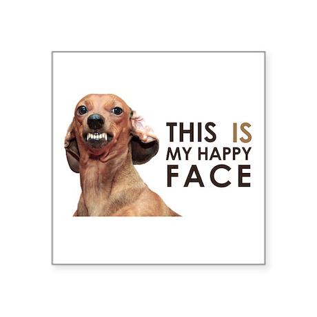 "Happy Face Dachshund Square Sticker 3"" x 3"""