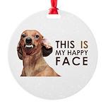 Happy Face Dachshund Round Ornament