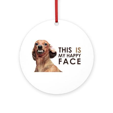 Happy Face Dachshund Ornament (Round)