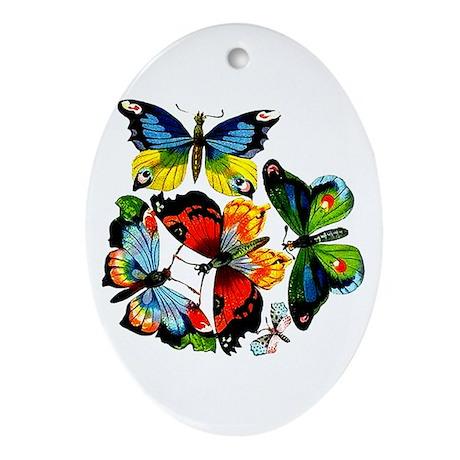 Flock Of Butterflies Oval Ornament