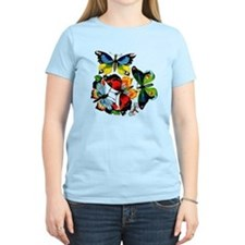 Flock Of Butterflies Women's Pink T-Shirt