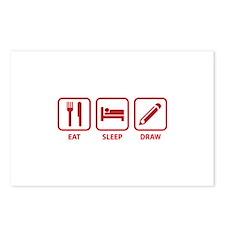 Eat Sleep Draw Postcards (Package of 8)