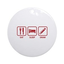 Eat Sleep Draw Ornament (Round)