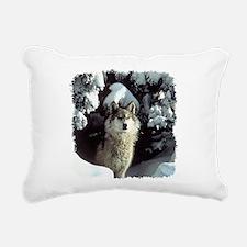 gray wolf Rectangular Canvas Pillow