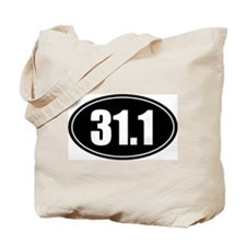 31.1 50k oval black sticker decal Tote Bag