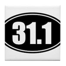 31.1 50k oval black sticker decal Tile Coaster