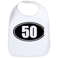 50 mile black oval sticker decal Bib