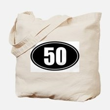50 mile black oval sticker decal Tote Bag