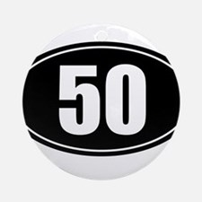 50 mile black oval sticker decal Ornament (Round)