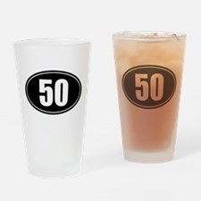 50 mile black oval sticker decal Drinking Glass