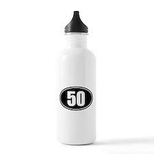 50 mile black oval sticker decal Water Bottle