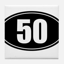 50 mile black oval sticker decal Tile Coaster
