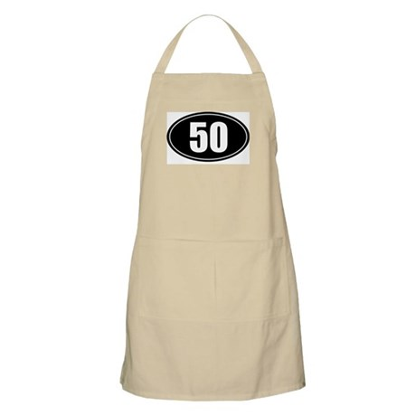 50 mile black oval sticker decal Apron