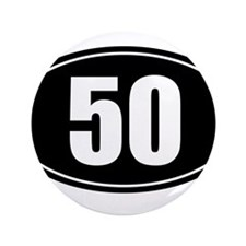 """50 mile black oval sticker decal 3.5"""" Button"""