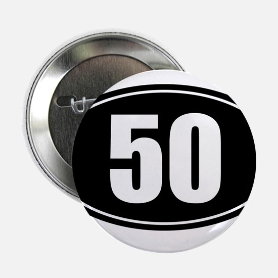 """50 mile black oval sticker decal 2.25"""" Button"""