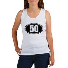 50 mile black oval sticker decal Women's Tank Top