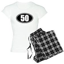 50 mile black oval sticker decal pajamas