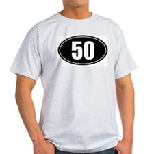 50 mile black oval sticker decal T-Shirt